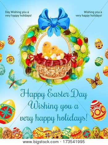 Easter spring holiday and egg hunt celebration cartoon poster. Basket with Easter eggs and chicken chicks, encircled by floral Easter wreath with ribbon bow and butterflies on spring sky background