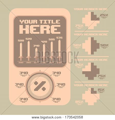 Retro infographics collection, Information Graphics, Old style, Pixel Art