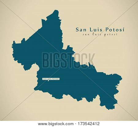 Modern Map - San Luis Potosi Mexico Mx Illustration