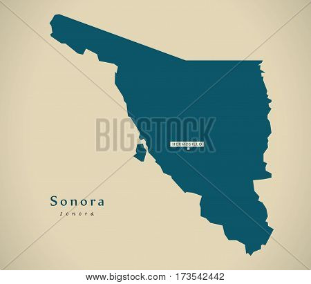 Modern Map - Sonora Mexico Mx Illustration