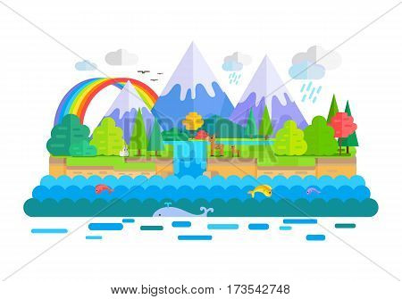 Wild nature landscape vector. Flat style. Illustration with snow-capped peaks, animals, forest, waterfall, rainbow, sea. Banner for summer vacation, ecological, concepts and web page design
