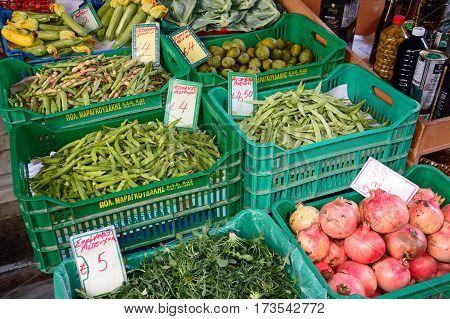 HERAKLION, CRETE - SEPTEMBER 19, 2016 - Fruit and vegetables for sale at a city centre shop along Odos 1821 Heraklion Crete Greece Europe, September 19, 2016.