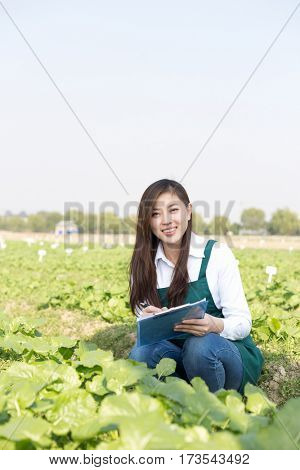 young pretty chinese woman in green vegetable field