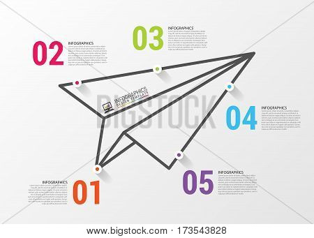 Paper airplane. Infographics concept. Vector design template.