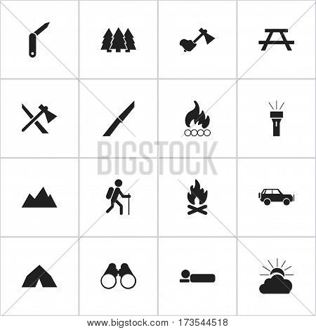Set Of 16 Editable Trip Icons. Includes Symbols Such As Field Glasses, Blaze, Sport Vehicle And More. Can Be Used For Web, Mobile, UI And Infographic Design.