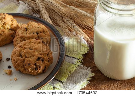 close up view of nice homemade cookies with milk