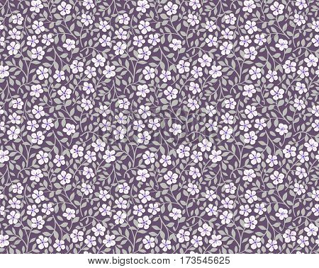 Vector seamless pattern. Cute pattern in small flower. Small white flowers. Lilac background. Ditsy floral background. The elegant the template for fashion prints.