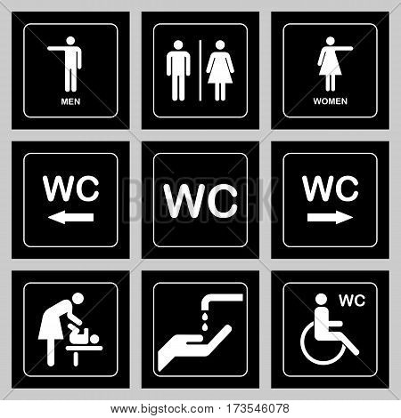 Wc / Toilet Door Plate Icons Set. Men And Women Wc Sign For Restroom
