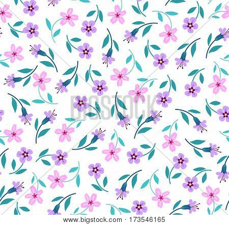 Floral pattern. Pretty flowers on white backgroung. Printing with Small-scale pink and lilac flowers. Ditsy print. Seamless vector texture. Spring bouquet.