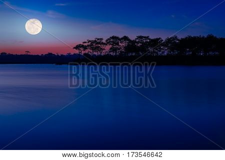 Full Moon Over The Lake.