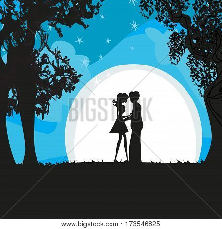Lovers silhouette in the moonlight , vector illustration