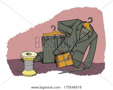 Everyday savings - men's suit on the rack with sewn pockets and knotted wallet near the spools of thread and a needle and thread. Humor.