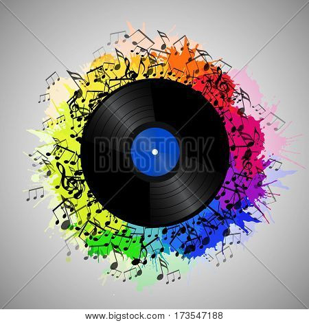 Illustration of vinyl record with music notes and rainbow watercolor splashes. Vector element for presentations covers and your creativity