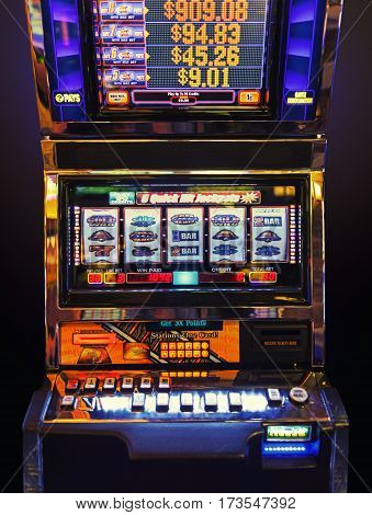 fragment like view of  slot machine  in las vegas casino