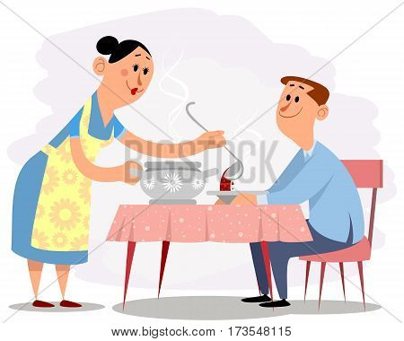 Vector illustration of a wife and husband