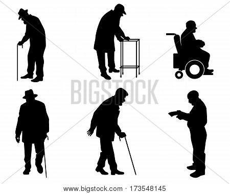 Vector illustration of a six old people silhouettes