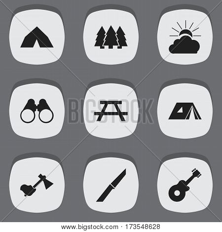 Set Of 9 Editable Travel Icons. Includes Symbols Such As Tepee, Pine, Ax And More. Can Be Used For Web, Mobile, UI And Infographic Design.