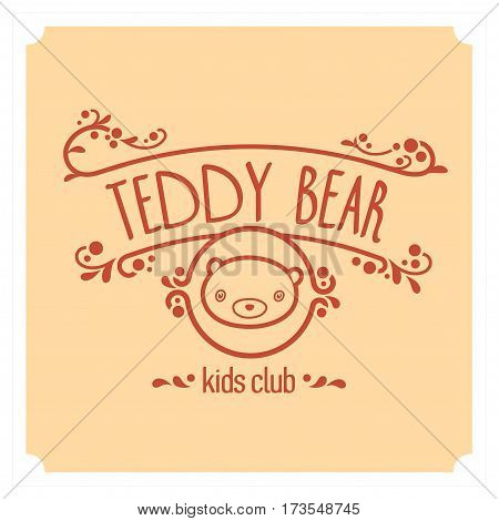 Kids club logo with teddy bear. Baby, child company goods, toys shop, store, language school. Teddy icon, animal character. Kindergarten badge