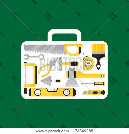 Construction tool in tool box on green background. Flat vector illustration for web design. Colorfull banner for web site. Saw, axe, brush, hammer and other tool on green background.