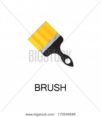 Brush flat icon. Single high quality color element for web design or mobile app. Isolated symbol on white background. Construction tool flat icon. Bulding tool vector illustration.