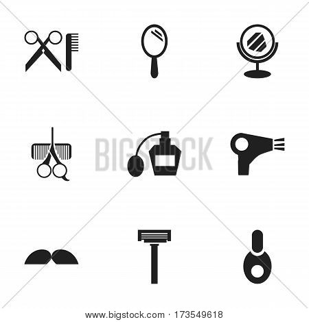 Set Of 9 Editable Barbershop Icons. Includes Symbols Such As Scent, Reflector, Barber Tools And More. Can Be Used For Web, Mobile, UI And Infographic Design.