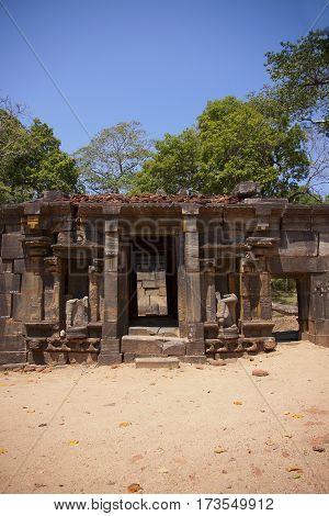 Shiva Dewalaya Polonnaruwa or Pulattipura ancient city of the Kingdom of Polonnaruwa in Sri Lanka vertical