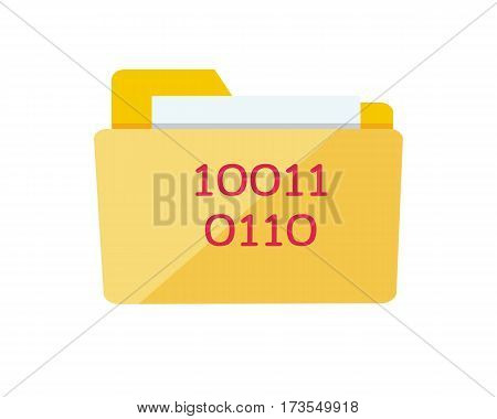 Folder icon isolated on white. Yellow web folder sign with IT data. Interface of button for data storage. Multimedia archive. Information saver. Folder for web documents. Vector in flat style design
