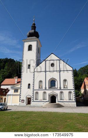 HRVATSKA KOSTAJNICA, CROATIA - JUNE 18: Parish Church of Saint Nicholas in Hrvatska Kostajnica, Croatia on June 18, 2016.
