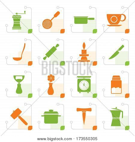 Stylized Kitchen and household tools icons - vector icon set