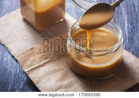 Homemade Caramel Sauce In A Glass Jar
