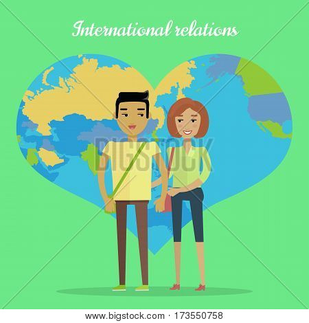 International relations vector concept. Flat design. Nations cooperation. Interracial marriages. Asian man, caucasian woman holding hands on green background with world map in shape of heart