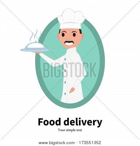 Vector illustration cartoon portrait of a male chef cook. Isolated on white background. Logo icon chef cook. Food delivery service. Man in a white chef hat. Side view, profile. Flat design.