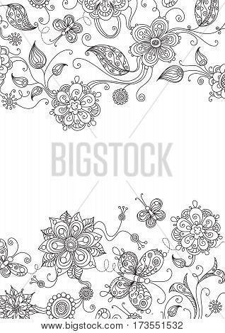 Ornate floral elements for your design with free place for your text.