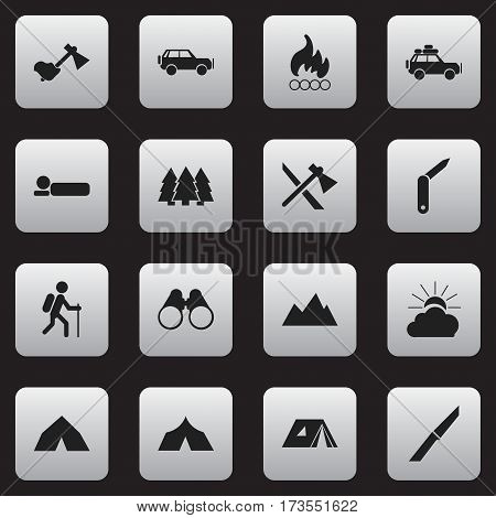 Set Of 16 Editable Trip Icons. Includes Symbols Such As Shelter, Ax, Sunrise And More. Can Be Used For Web, Mobile, UI And Infographic Design.