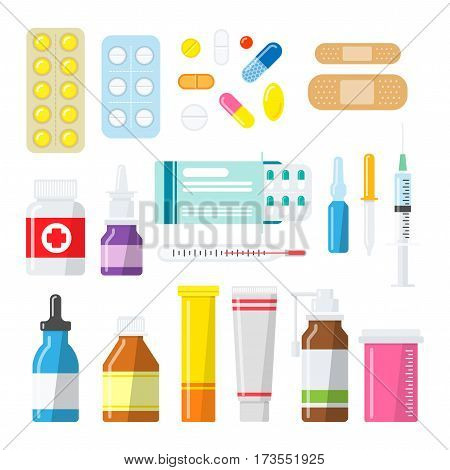 Medical tablets, pills, capsules and drug vector icon set. Pharmacology and Pharmacy. Medicine bottles and boxes in flat style.