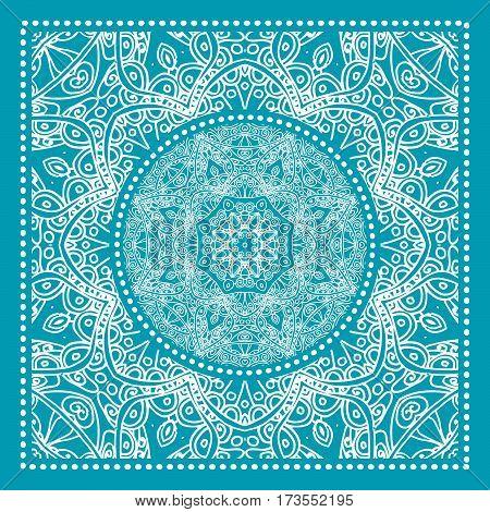 Blue Bandana Print. Vector ornamental tile pattern with border and frame