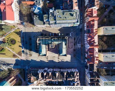Aerial view of the City Hall in an old town of Kolobrzeg in Poland winter time