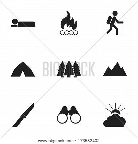 Set Of 9 Editable Camping Icons. Includes Symbols Such As Blaze, Tepee, Knife And More. Can Be Used For Web, Mobile, UI And Infographic Design.