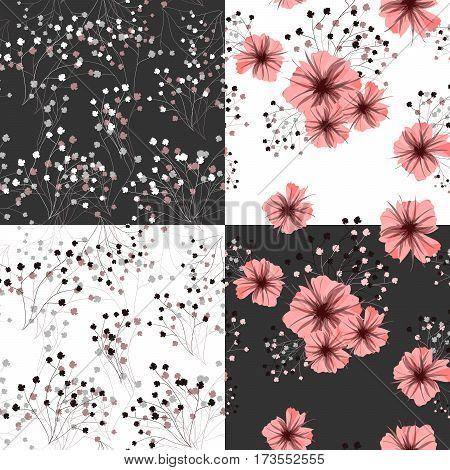 Seamless pattern for floral design. Petunia flower. Vector illustration.