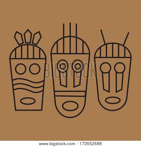 Tribal mas icons. African ethnic tribal masks vector. Tribal masks