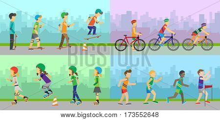 Set of sport concepts with active peoples. Running, skating, biking, rollerblading illustrations. Summer fun. Moving activity and healthy life. Equipment for sports. Victory in sport competition.