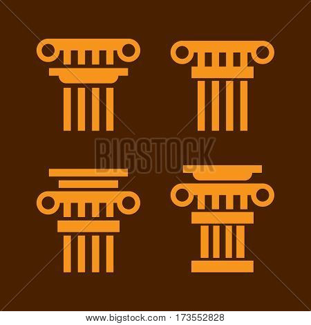 Column icons. Ancient architecture antique column vector. Antique column sign