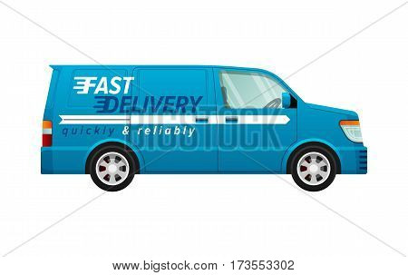 Transport. Blue delivery minivan with a white line. Fast and reliable four-wheeled mean of transportation. Side view of car with four silver discus in black frame. Front and back headlights. Vector