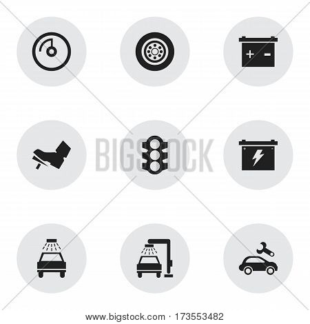 Set Of 9 Editable Traffic Icons. Includes Symbols Such As Vehicle Wash, Stoplight, Speed Display And More. Can Be Used For Web, Mobile, UI And Infographic Design.