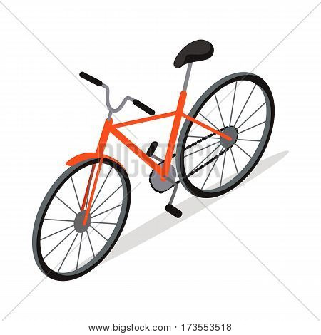 Bicycle icon design flat isolated. Bike and orange bicycle. Personal transport. Ecologically safe transportation item. Cycling race sport. Mountain bicycle, travel bicycle. Vector illustration