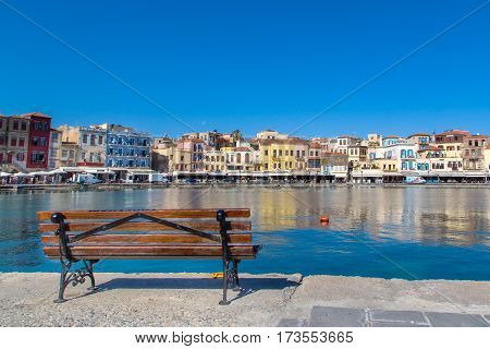 the old town of Chania on the Greek coast. sunny day, the Venetian style. April 30.2013 Greece