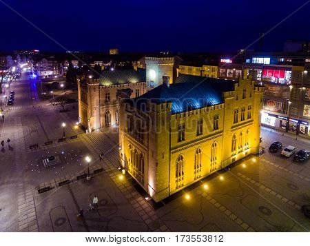 Kolobrzeg Poland - February 25 2017: Aerial view of the City Hall in an old town at night time