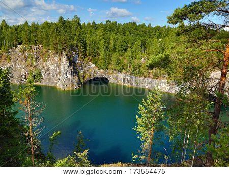 Lake landscape - old marble quarry in Ruskeala, Karelia, Russia