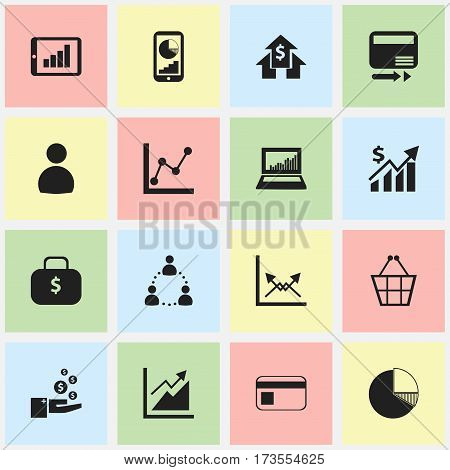 Set Of 16 Editable Statistic Icons. Includes Symbols Such As Pay Redeem, Circle Diagram, Money Bag And More. Can Be Used For Web, Mobile, UI And Infographic Design.