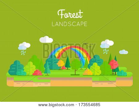 Forest landscape vector in flat style. Illustration of nature with trees, brunches, rainbow, clouds and rain. Banner for environmental, ecological, touristic, weather concepts and web page design.